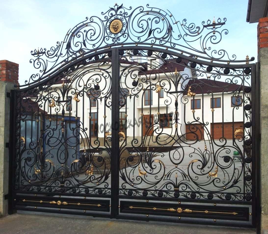 Большие кованые ворота для загородного дома Артикул КВ-044