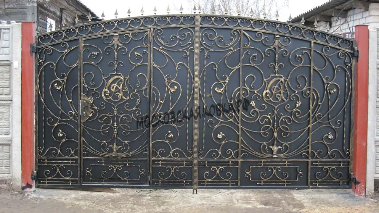 Кованые ворота с насыщенным рисунком Артикул КВ-033