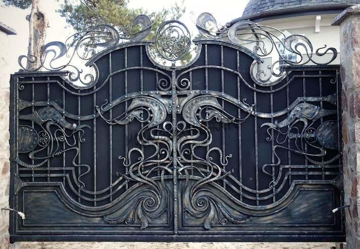 Элитные кованые ворота ручная работа Артикул КВ-054