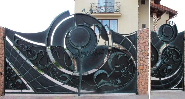 Оригинальные кованые ворота с калиткой Артикул КВ-058