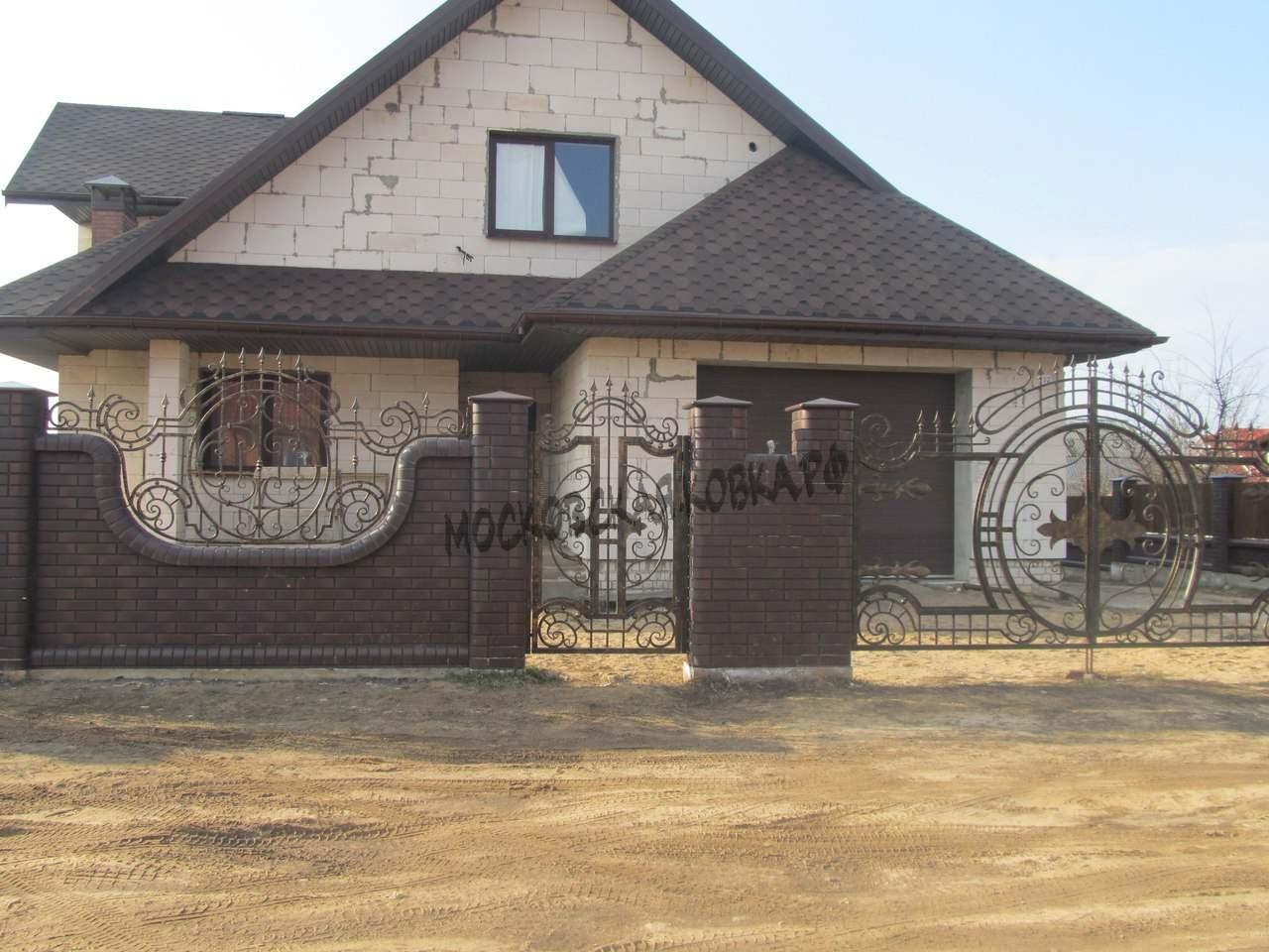 Кованые ворота в едином стиле с забором Артикул КВ-036