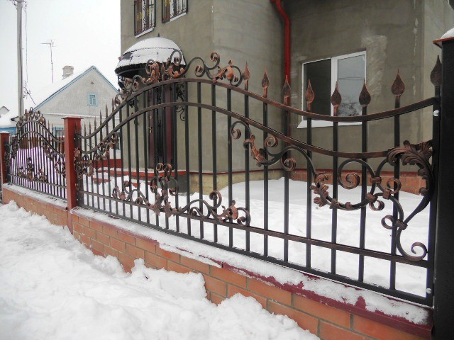 Кованый забор с медной патиной Артикул № КЗ-002