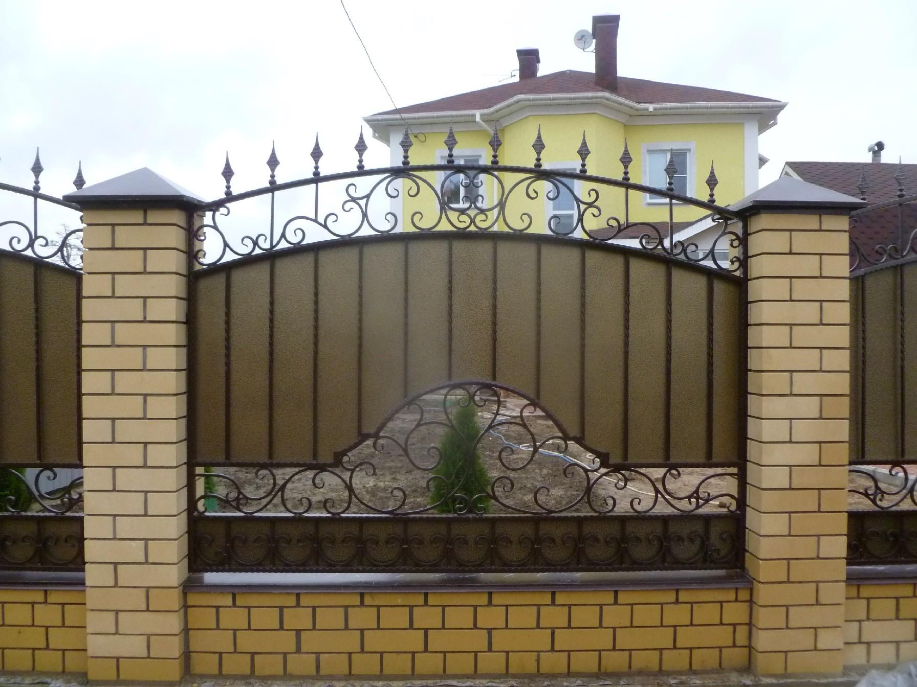 Кованый  забор с поликарбонатом Артикул № КЗ-043