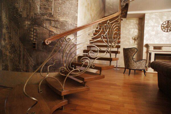 Недорогие кованые перила для лестницы в доме АРТИКУЛ КП 218