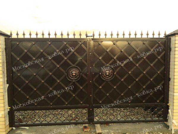 Кованые глухие ворота,калитка и забор Артикул КВ-074