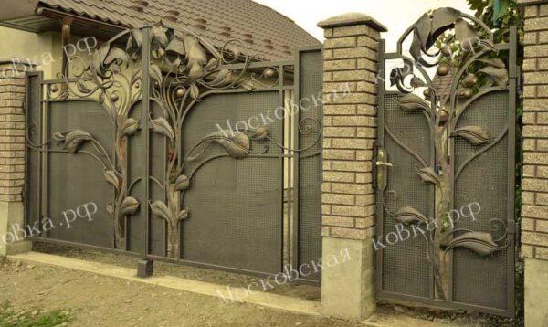 Кованые ворота и калитка с огромными листьями Артикул КВ-072
