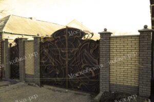 Кованые ворота с золотой патиной (4)