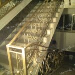 Кованые перила песчано-золотистого цвета АРТИКУЛ КП 246