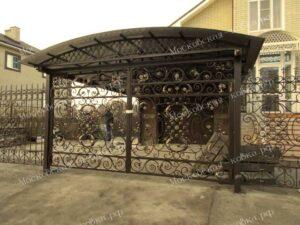 Кованые ворота забор и навес