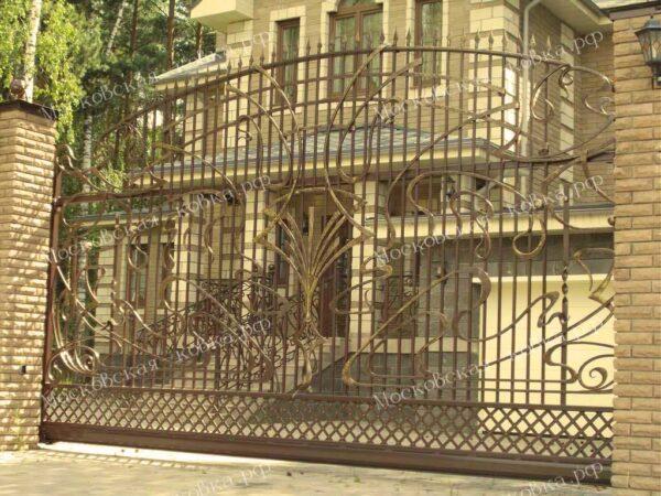 Кованые откатные ворота и забор Артикул КВ-105
