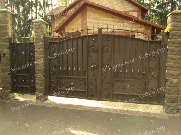 Сварные ворота с элементами ковки Артикул КВ-106