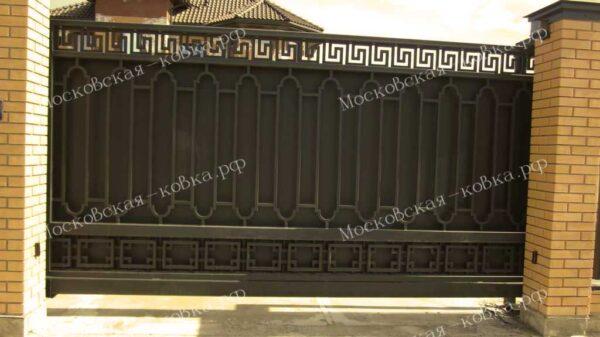 Откатные ворота с «геометрической» ковкой Артикул КВ-114