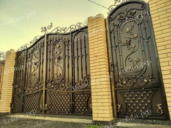 Кованые ворота и калитка больших размеров Артикул КВ-077