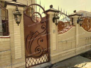 Кованые ворота и калитка цвета старой меди (5)