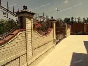 Кованые ворота и калитка цвета старой меди (6)