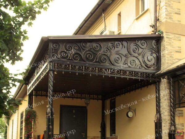 Кованый навес над входом в дом артикул № 112