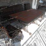 Кованые скамейки стол и стулья
