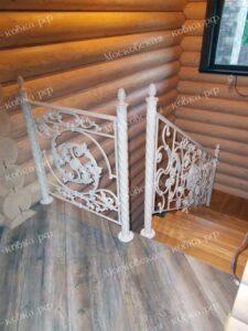 Кованые перила на витых столбах 2