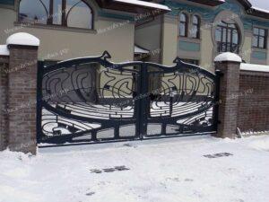 Ворота и калитка кованые в стиле модерн