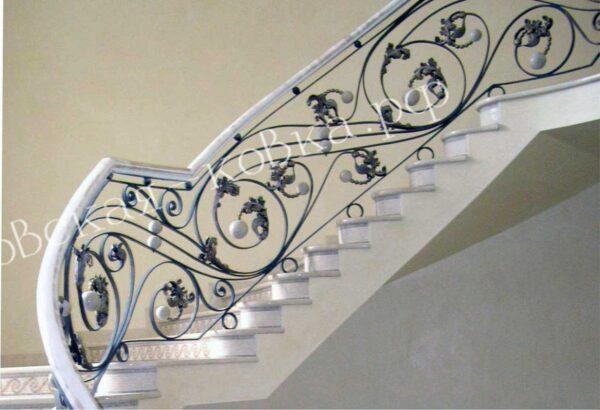 Дизайнерские кованые перила с стеклянными шарами АРТИКУЛ КП 2020-56