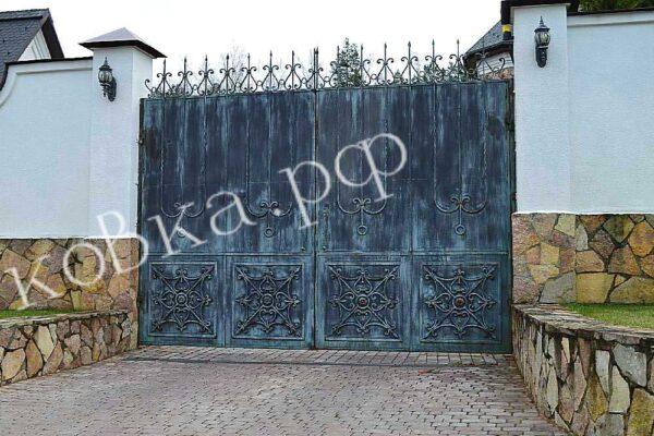 Искуcтвенно состаренные кованые ворота Артикул КВ-128