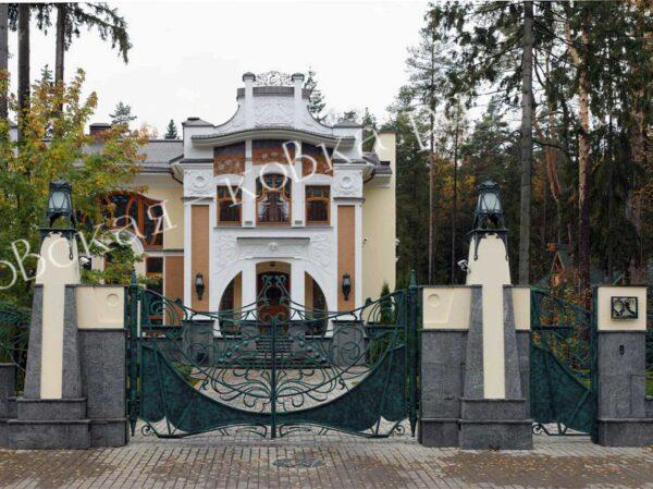 Кованые ворота и забор в стиле Модерн Артикул КВ-134