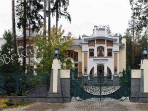 Кованые ворота и забор в стиле Модерн