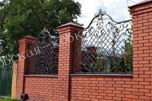 Кованые забор ворота и калитка из фактурного квадрата