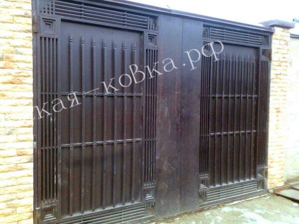 Монументальные ворота с литыми пиками Артикул КВ-146