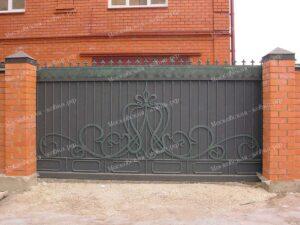 Откатные кованые ворота с накладным рисунком в стиле Модерн
