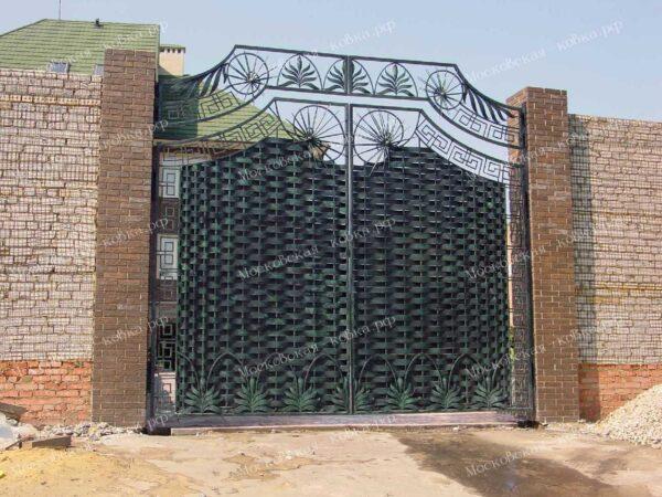 Плетенные кованые ворота 5 метровой высоты Артикул КВ-150