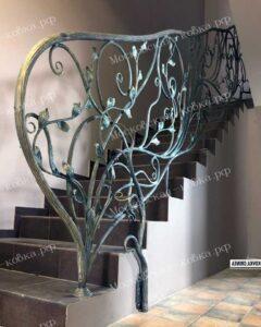 Растительные перила для лестницы с кованым поручнем столбом