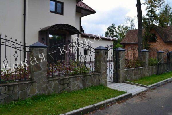 Кованые забор калитка и козырек Артикул № КЗ-2020-28